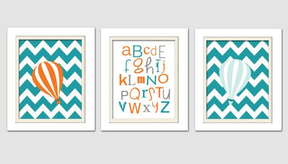 Orange and teal nursery Abc Wall Art Hot Air by ChicWallArt, $33.00