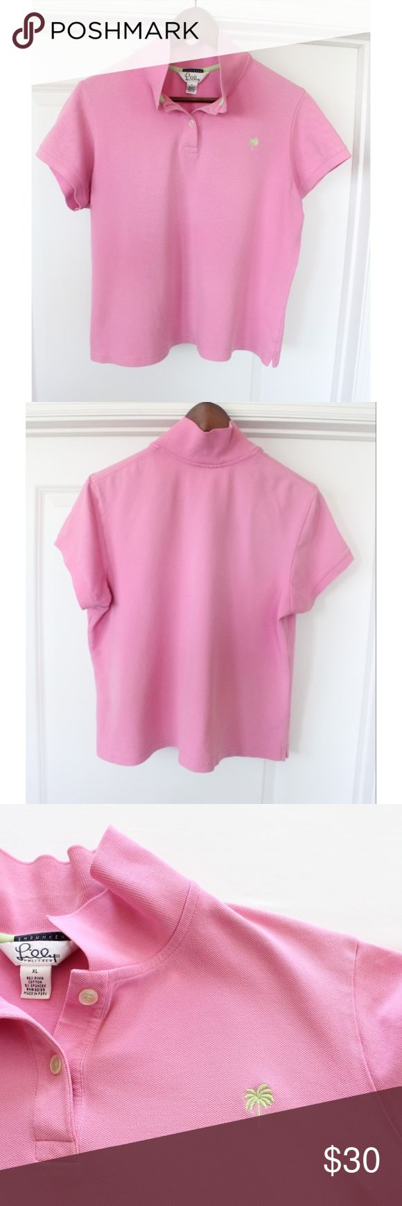"Lilly Pulitzer Pink Polo Shirt Size XL Women's Shrunken style Machine washable 95% Cotton; 5% Spandex In very good condition! Gently worn. Pics show accuracy of condition No stains, snag or tears noted. From a pet & smoke free home!  *Buy 2+ items and save 10% on your order!*  Measurements (approx):  length 21.5"" pit-to-pit 21"" waist 42"" Lilly Pulitzer Tops"