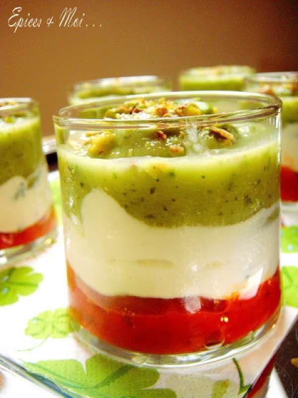 Verrine italienne tricolore (poivron, ricotta et courgette)