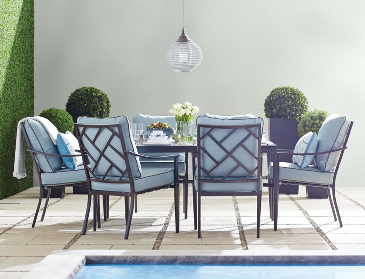 Patio 2014 Collection  Biscayne Bay dining set by GlucksteinHome   Outdoor  spaces     Pinterest   Dining and Patios. Patio 2014 Collection  Biscayne Bay dining set by GlucksteinHome