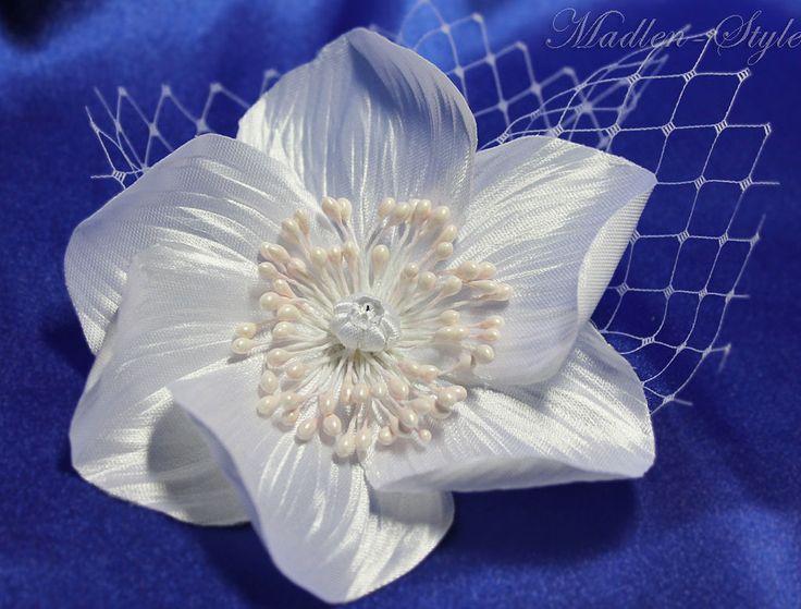 """Купить Заколка """"Фантазия"""" - белый, украшение в прическу, украшение невесты, свадебное украшение, свадебная брошь"""