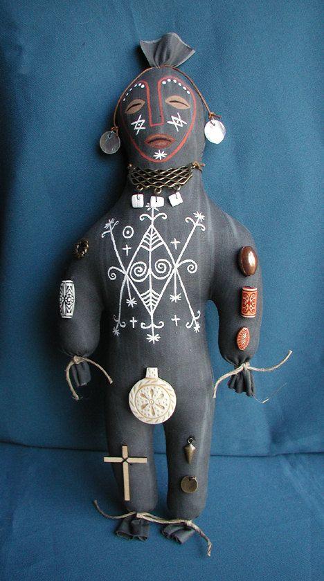 Voodoo Doll Ayizan Handsewn Handpainted Hoodoo Art Doll Stuffed With Herbs For Healing Made to Order.