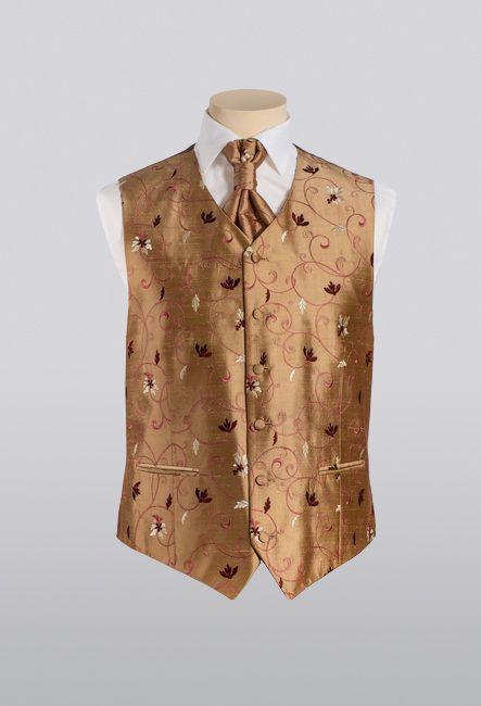 Жилетка мужская коричневая с пластроном | Mens brown waistcoat with plastron