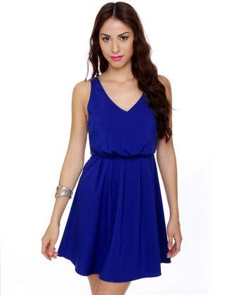 royal blue dress.