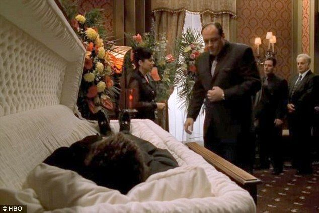 Saying goodbye: Those who remember Tony Soprano saying goodbye to friends and family in the funeral home used in The Sopranos can say hello to the Irvine-Cozzarelli Memorial Funeral Home, which is on sale for $1.8 million.