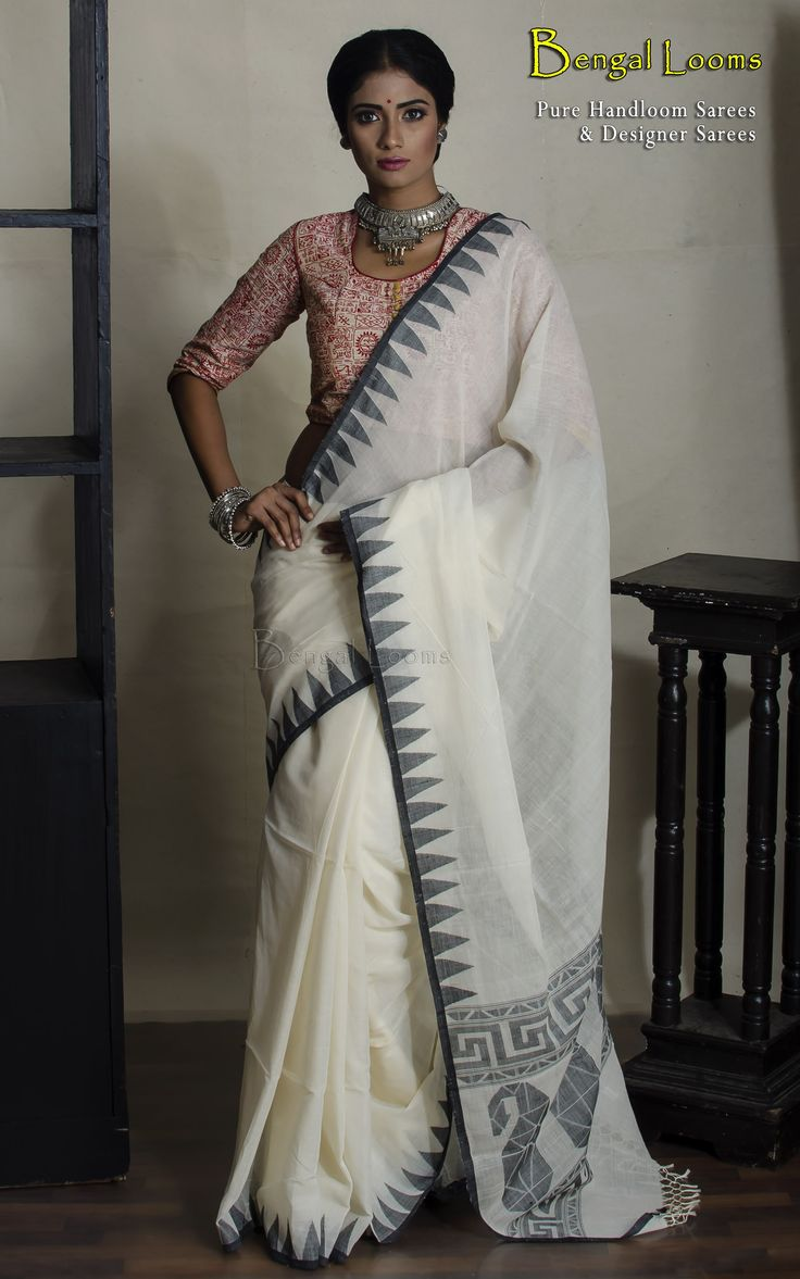 Black and white handloom khadi soft cotton saree with temple border