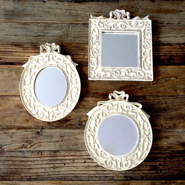 Small Cream Mirror with Bow Ornate distressed Cream Mirror with Bow / oval mirror / round mirror / square mirror by EllasAtticVintage on Etsy