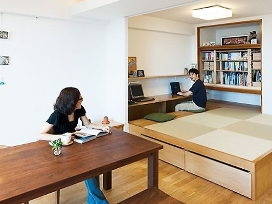 little tatami mats space with desk area