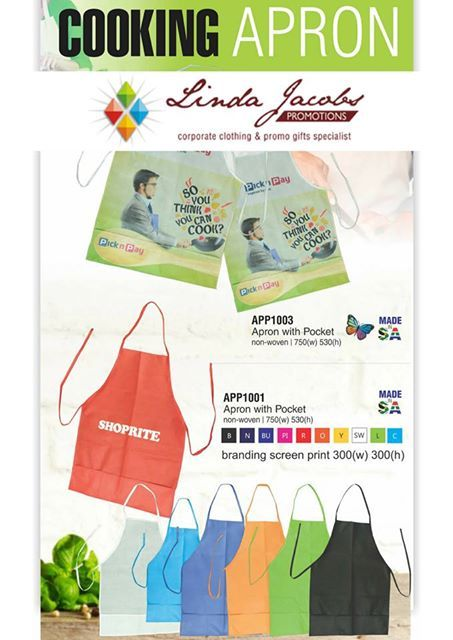 Cooking Apron's -  Apron with pocket and full-colour sublimation print  Apron with pocket and 1 colour screen print  (branding area 300 x 300)  Minimum quantity 100 units... For more info -  See more products on our website - http://www.lindajacobspromotions.co.za/?utm_content=buffer42cb6&utm_medium=social&utm_source=pinterest.com&utm_campaign=buffer  Email: linda@lindajacobspromotions.co.za  Call us - 083 6280181 | 021 557 2152 #lindajacobspromotions #powerbanks #musictransmitter…