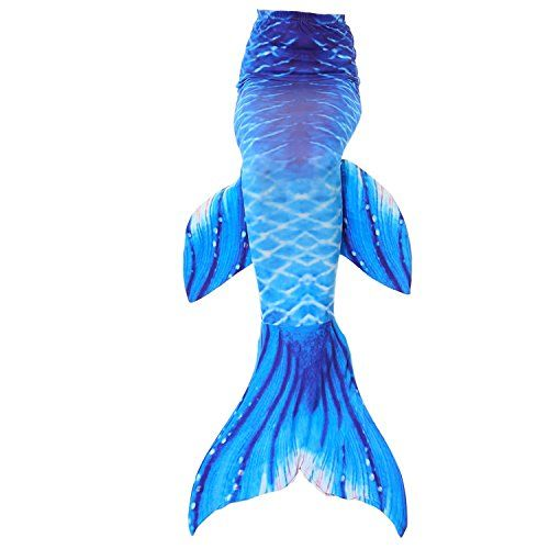 Fanryn Mermaid Tail Swimmable Mermaid Tails for Swimming by Girls,Boys,Kids and Adults Sizes Costume Swimsuit Can Match Monofin - 110(3-5Y), Dark Blue