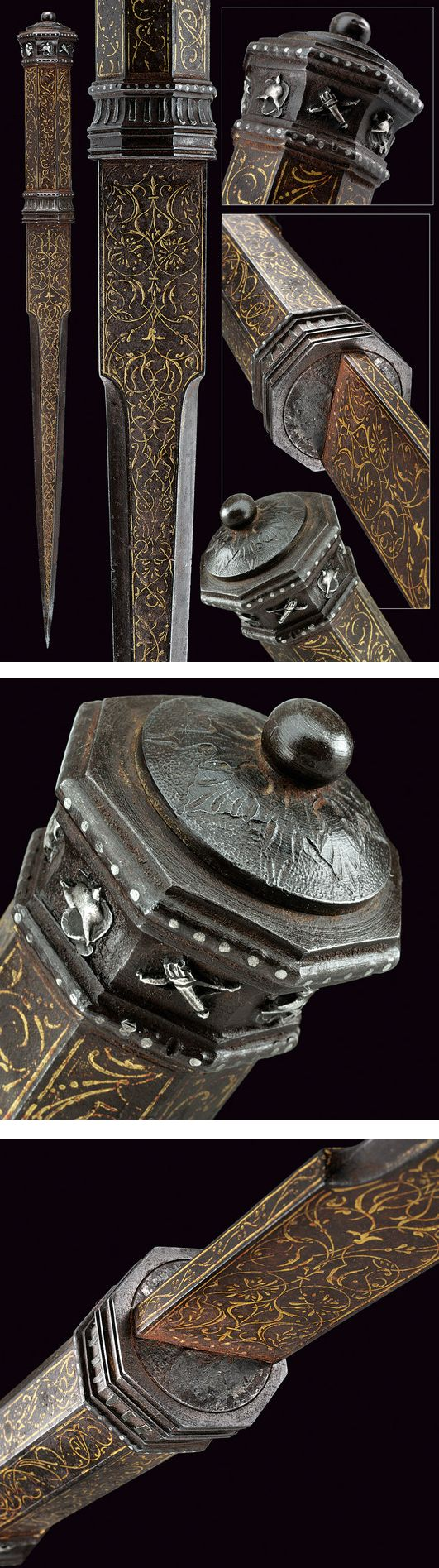 A very scarce dagger-handle for a walking cane,    provenance: North Italy dating: late 16th Century.