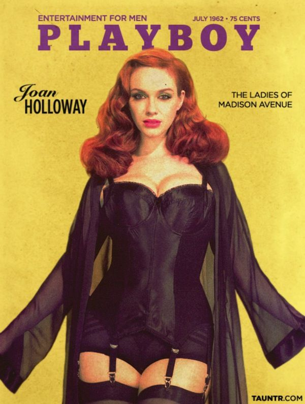 Ha! Someone's photoshopped Christina Hendricks in the What Katie Did Glamour Merry Widow onto a vintage issue of Playboy! Fab!