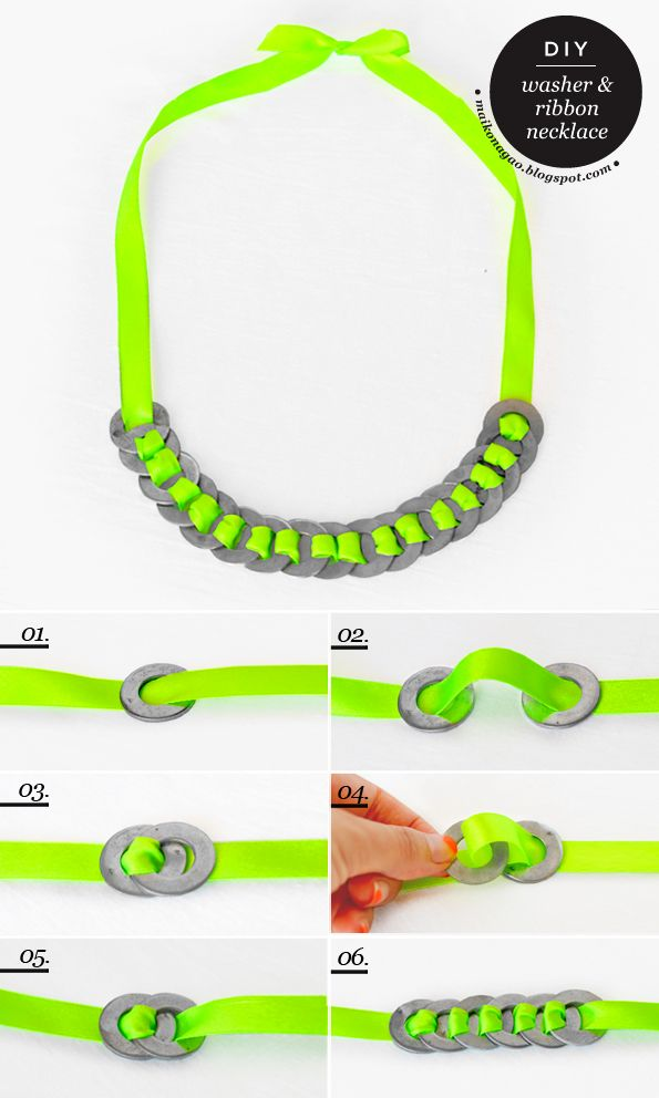 Maiko Nagao - diy, craft, fashion + design blog: DIY: Washer and ribbon neon necklace tutorial