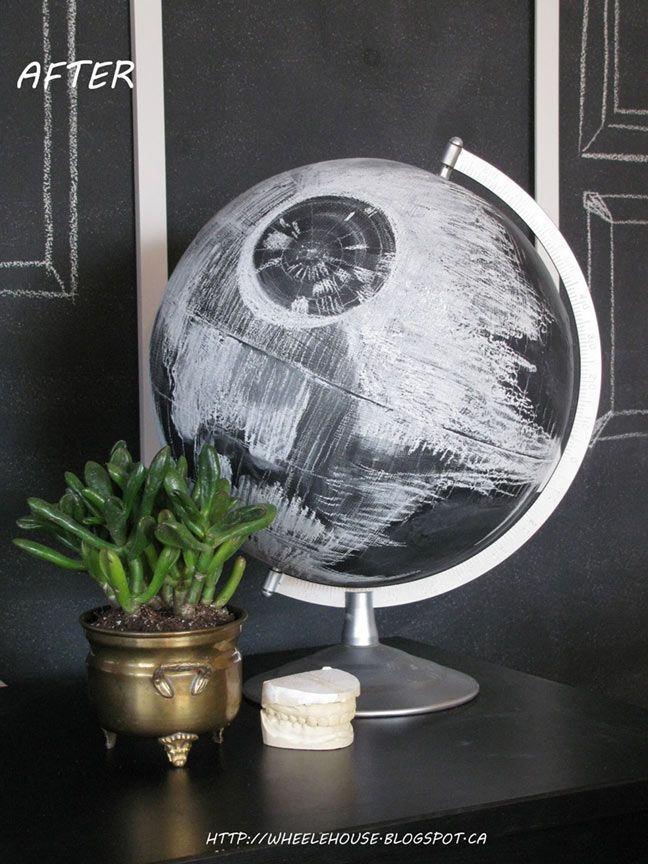 per bear: DIY Death Star Globe #StarWars #crafts Office DIY Decor, Office Decor, Office Ideas #DIY