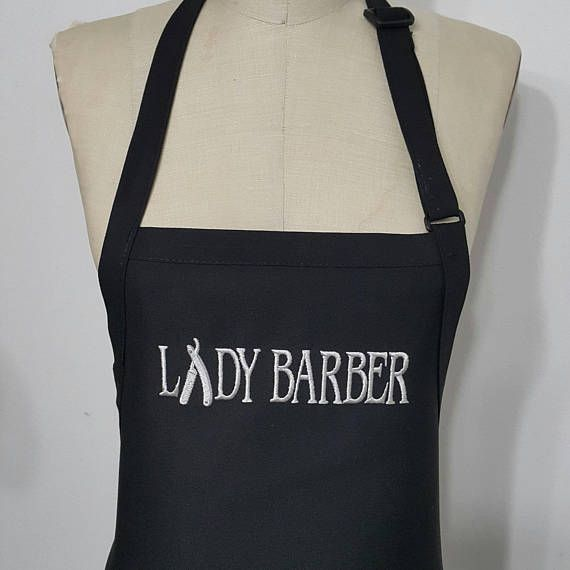 Lady Barber personalized apron / Black and grey Apron /