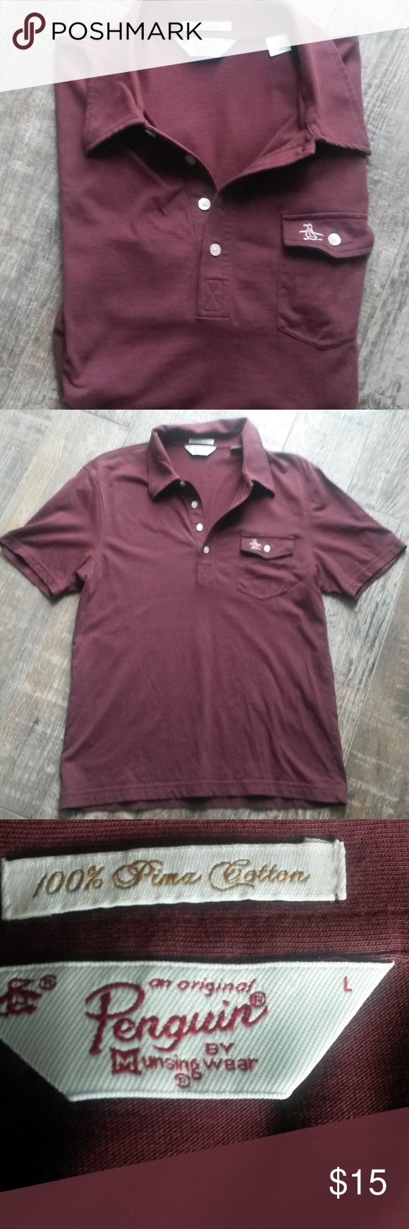 """Penguin by Munsing Wear Burgundy Polo Shirt Solid burgundy Polo shirt with 1 front pocket. 60% cotton, 40% polyester. Very soft. Has a small hole from where the tag was placed in the top right hand side below the collar. Otherwise,  in good condition.   approx. measurements: length: 25"""" shoulder: 18"""" chest: 19.25"""" Original Penguin Shirts Polos"""