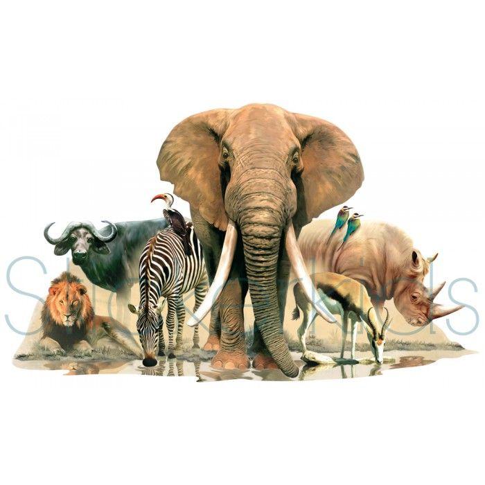 Grote muursticker met Afrikaanse Dieren