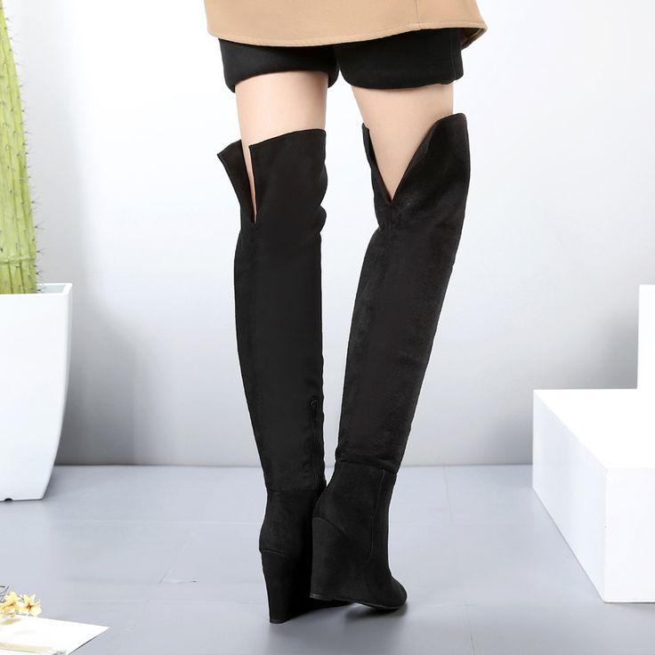 Marca cunhas coxa botas altas das mulheres para a primavera de outono sobre o joelho botas sapatos das senhoras em Botas acima do joelho de Sapatos no AliExpress.com | Alibaba Group