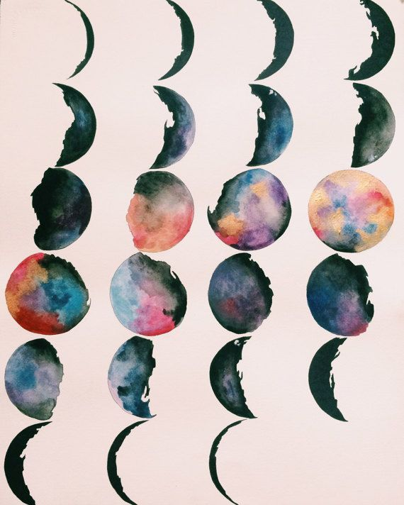 Moon Phase Painting Watercolor Painting Moon by WonderlustWaves