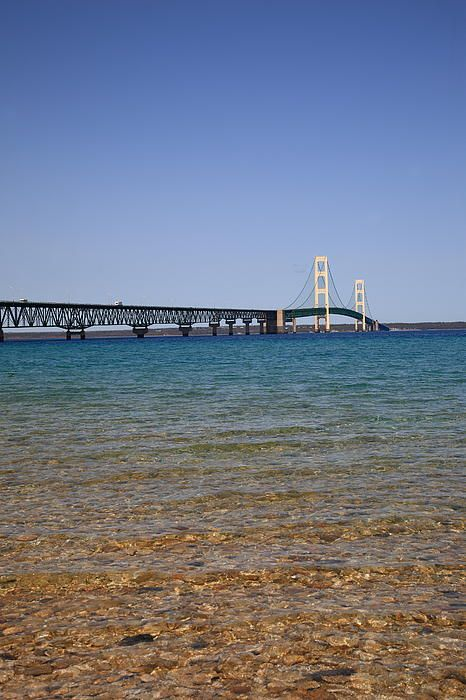 Mackinac Bridge. Suspension bridge connecting Upper and Lower peninsulas of Michigan. Also separates two of the Great lakes, Lake Michigan and Lake Huron. And what a view during the trip across!
