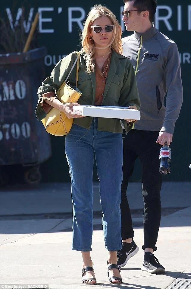 Sienna Miller wearing Roger Vivier Prismick Foulard Shopping Bag and Prada  Buckle-Strap Slingback Sandals ddab49d8fe