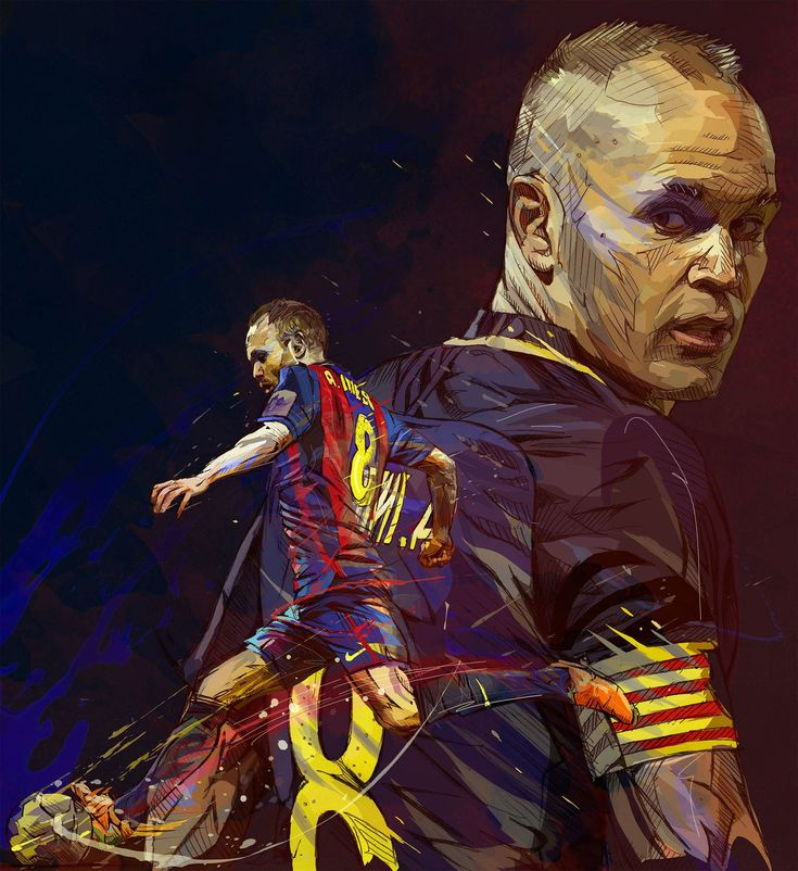 Three portraits of famous players from the soccer team of the FC Barcelona.Lionel Messi, Andres Iniesta et Philip Coutinho.This painting is a mix between traditional painting (watercolor, acrylic, ink, pen) and digital painting(photoshop and grahic tabl… #futbolmessi