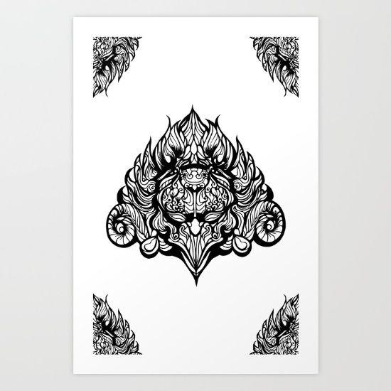 Mystical Garuda Creature Line Art