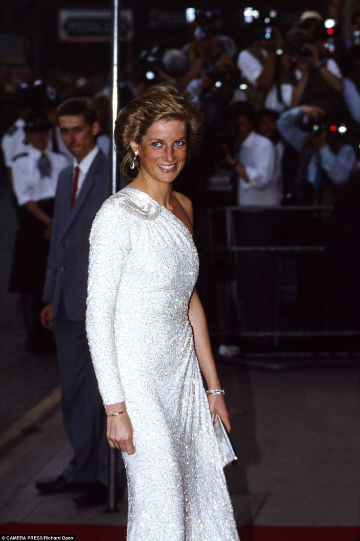 Diana sparkles on the red carpet at the royal premiere of the James Bond film Licence To Kill. It is 1989