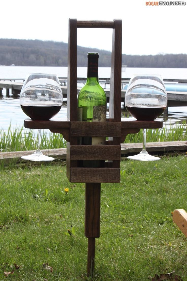 DIY Outdoor Wine Caddy Plans - Free Plans | rogueengineer.com #OutdoorWineCaddy #OutdoorDIYplans