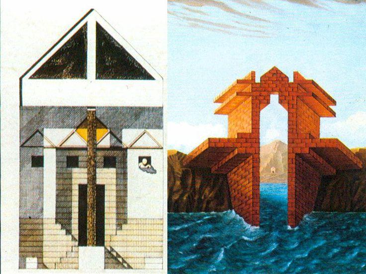 Biennale di Architettura di Venezia 1980 The Presence of the Past. A sinistra disegno di Franco Purini e Laura Thermes; a destra disegno di Massimo Scolari