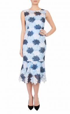 Blue Floral Guipure Lace Dress
