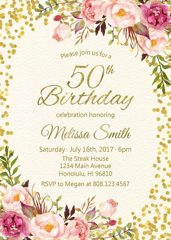 90th Birthday Invitations For Women Floral Birthday