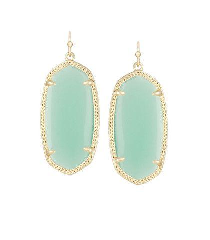 Kendra Scott Elle Chalcedony Mint Green Glass Earrings 14K Gold Plated – Blue Daisy