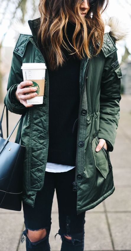 #fall #fashion / military green jacket