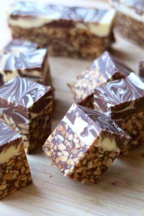 Carrés aux cacahuètes et aux deux chocolats - A TESTER