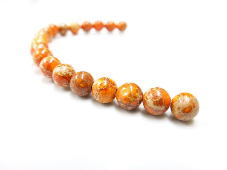 4 Perles en Jaspe sédiment de mer orange - 8 mm - Pierres semi précieuses. : Perles pierres Fines, Minérales par lulu-perles