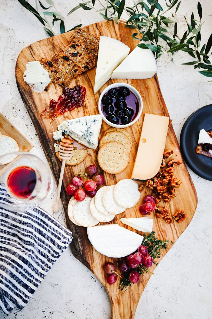 When you're strapped for time, do your best to include cheeses with different textures and flavors, an assortment of crackers, plus some sweet spreads to add to the mix.