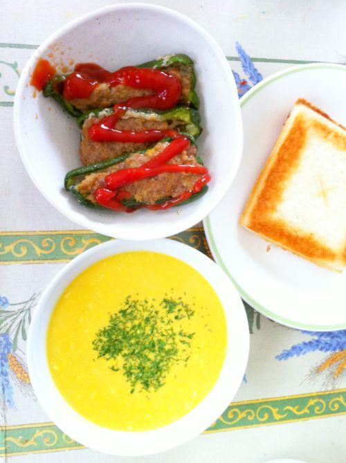 石上さんのピーマンで作った肉詰めと冷製かぼちゃスープ