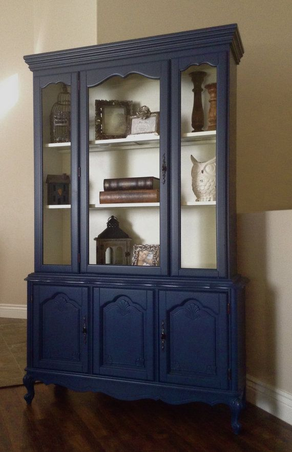Best 25 blue china cabinet ideas on pinterest painted for Navy blue painted furniture