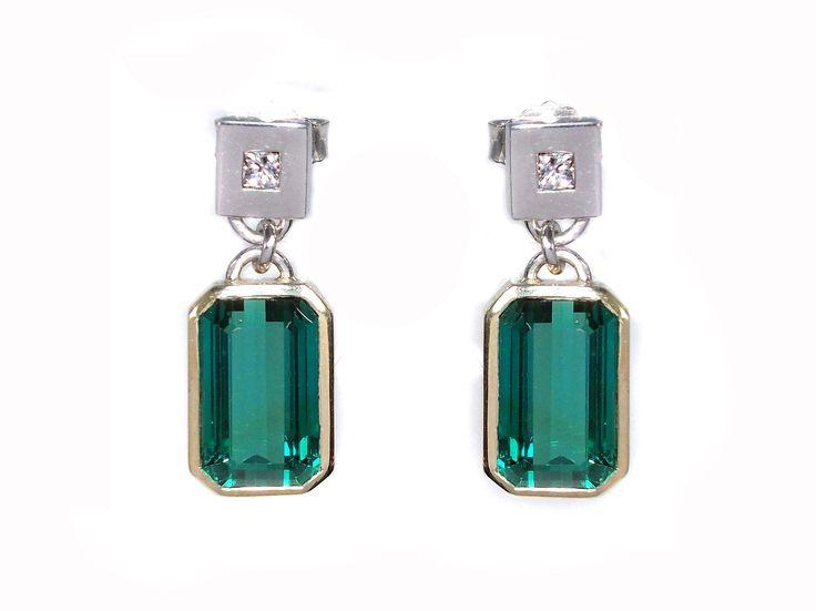 earring with beautiful emerald cut african  tourmaline and princess cut diamonds