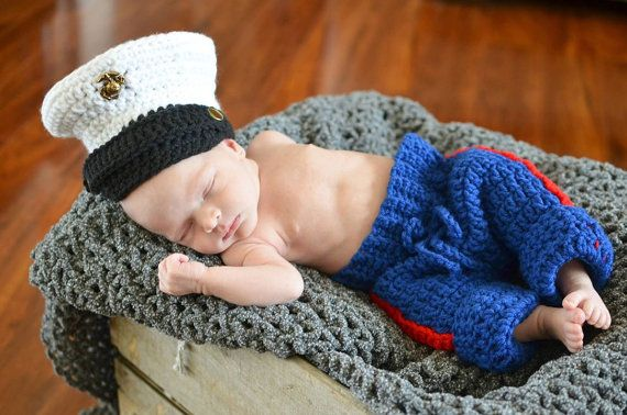 Marine Corps Dress Blues Inspired Crochet Hat and by DavlinDesigns, $39.00