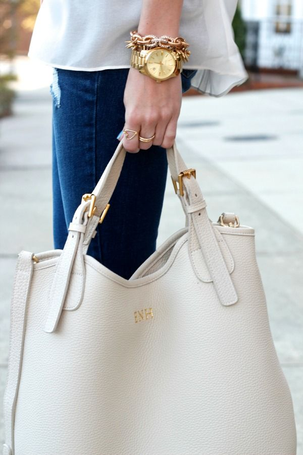 Ivory Olivia Shopper Tote, get it embroidered. Really rich leather bag.