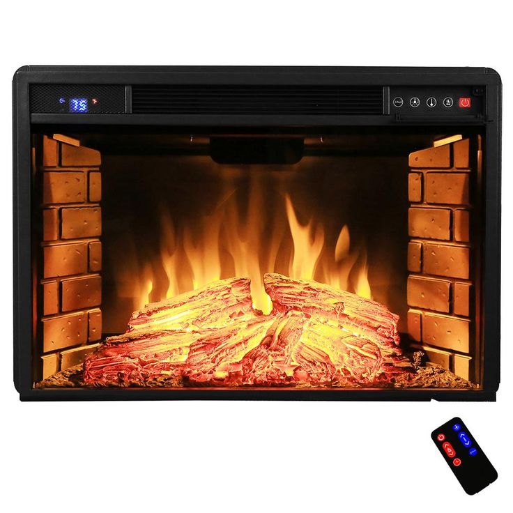 28 in. Freestanding Electric Fireplace Insert Heater with Tempered Glass and Remote Control, Black