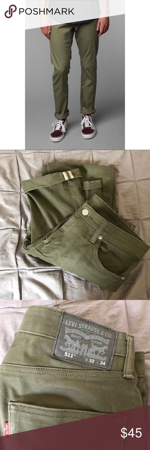 Men's 511 Levi Jeans - Olive Green EUC! Size 32 x 34. 511 Levi jeans Levi's Jeans Slim