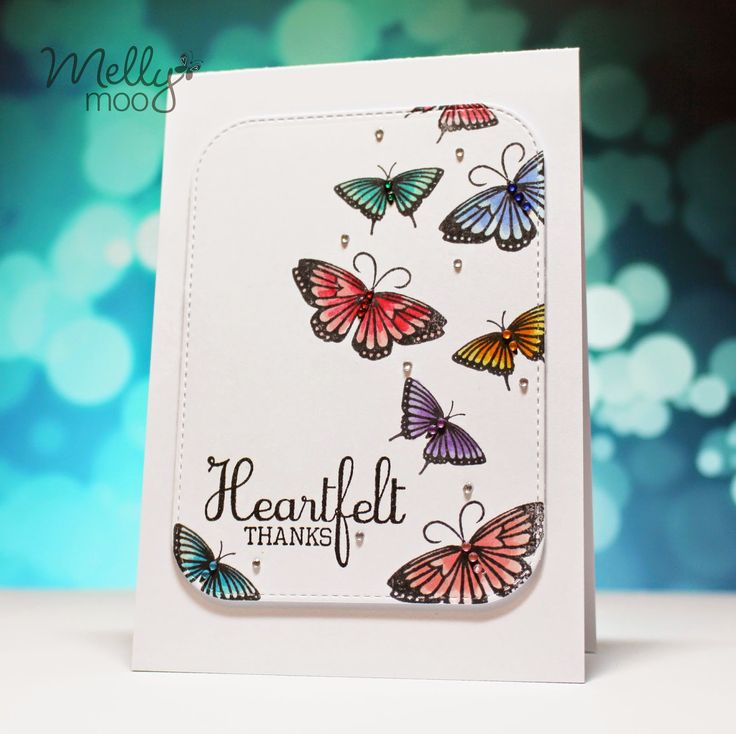 A butterfly beauty by @rebejhoy using the FREE Clearly Besotted stamp set with Simply Cards & Papercraft 133. Grab yours here: http://www.moremags.com/home-page-scroller/issue133-simply-cards-papercraft