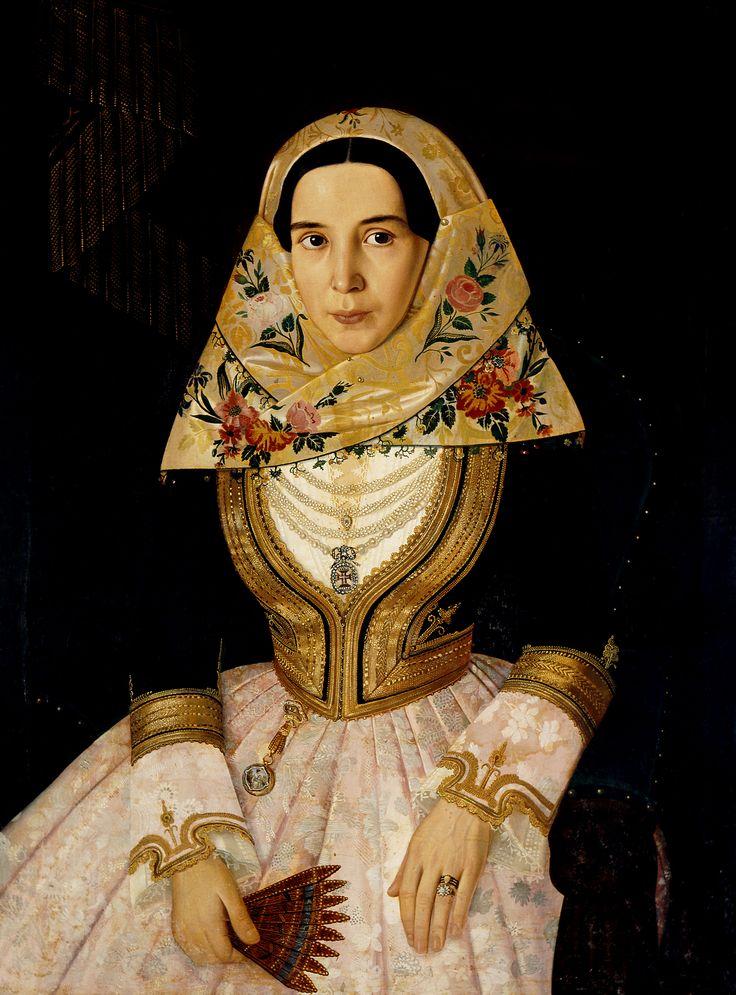 "Francesco Pige, Κυριακούλα Βούλγαρη, σύζυγος Α. Κριεζή, π. 1850-1852, ελαιογραφία, 83 x 66 εκ. Συλλογή Ιδρύματος Ε. Κουτλίδη. Εθνική Πινακοθήκη – Μουσείο Αλεξάνδρου Σούτζου, Αθήνα. Francesco Pige, ""Kyriakoula Voulgari, wife of A.Kriezis"" c.1850-1852, oil painting, 83 x 66 cm. National Gallery of Greece - Alexandros Soutzos Museum, Athens, E.Koutlidis Foundation Collection"