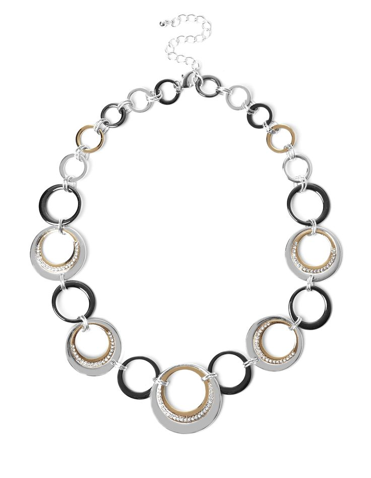 3 Tone Circle Necklace3 Tone Circle Necklace, Silver/Gold/Hematite