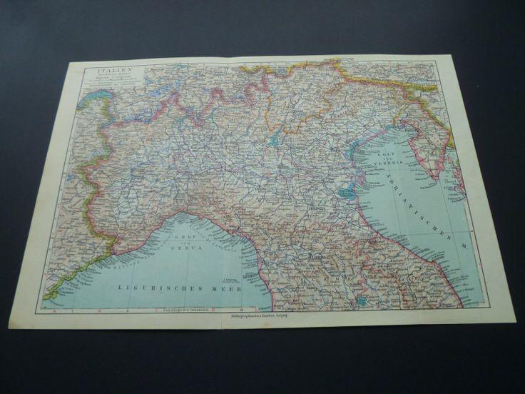 old map of Italy - 1926 vintage German map of Northern Italy - Turin - Milan - Bologna - Verona - Italie Italien 24x36cm/9x14'' €10.95 via @Shopseen