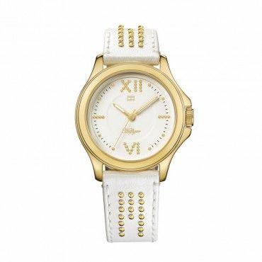 1781013 Γυναικείο ρολόι quartz της TOMMY HILFIGER επίχρυσο με λευκό καντράν και λευκό δερμάτινο λουρί | TOMMY HILFIGER ρολόγια ΤΣΑΛΔΑΡΗΣ στο Χαλάνδρι #Tommy #Hilfiger #επιχρυσο #δερμα #ρολοι