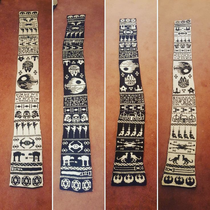 Star Wars Double Knit Scarf - Most impressive. Get the pattern & charts! #starwars #knit #knitting